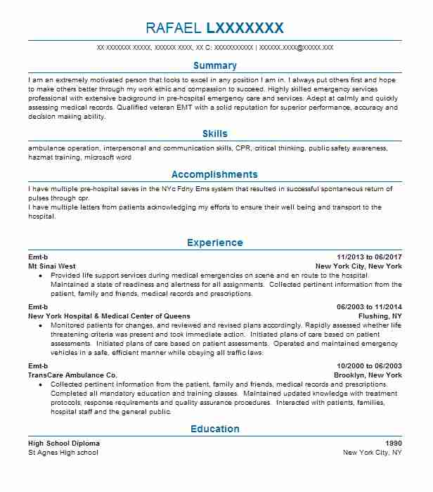 1052 Emergency Medical Technicians Resume Examples in New Jersey - medical records technician resume