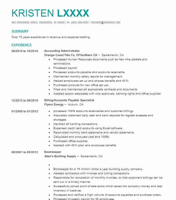 Accounting Administrator Resume Sample LiveCareer