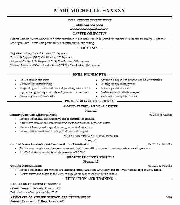 Best Intensive Care Unit Registered Nurse Resume Example LiveCareer