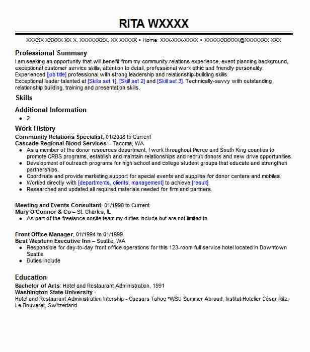 Community Relations Specialist Resume Sample LiveCareer