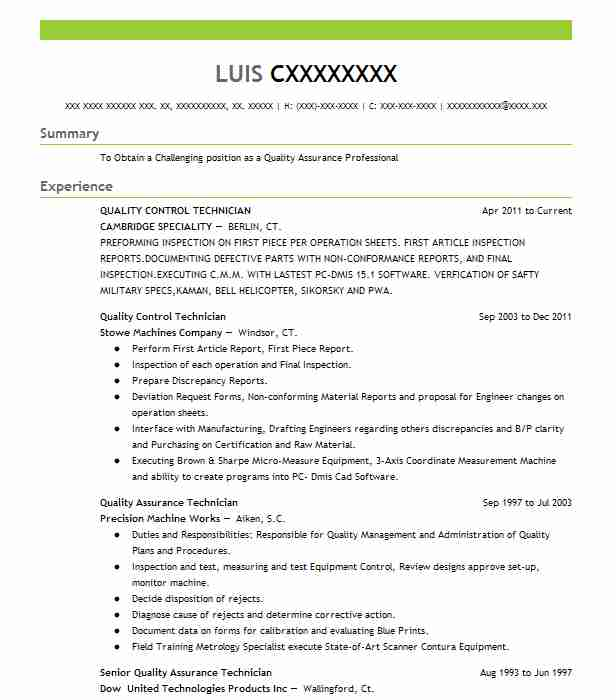 Quality Control Technician Resume Sample LiveCareer
