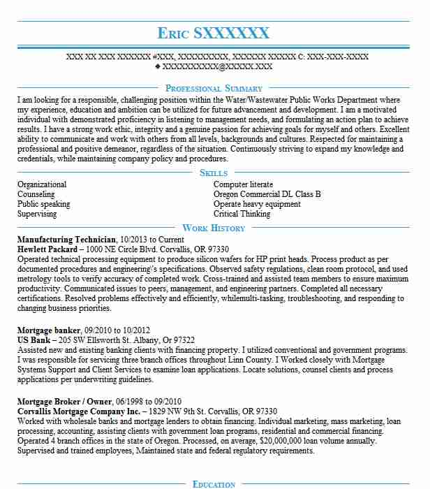 23 Watershed Management Resume Examples in Oregon LiveCareer