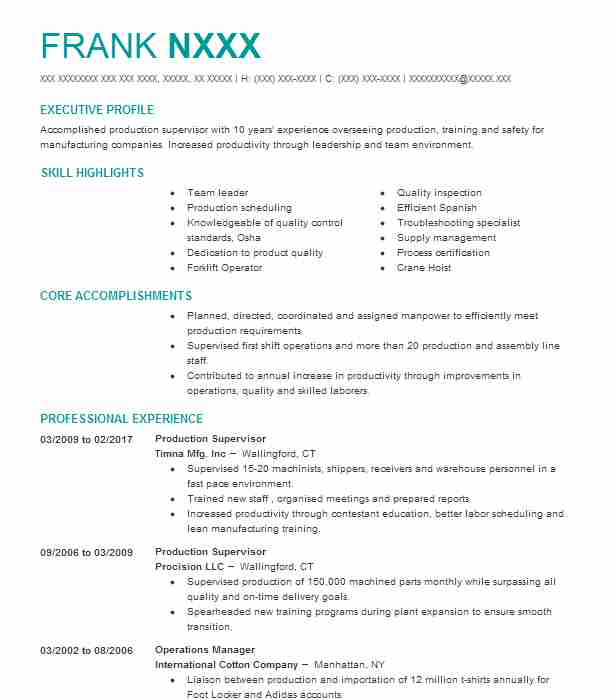 Bank Teller Supervisor Resume Sample Supervisor Resumes LiveCareer - production supervisor resume