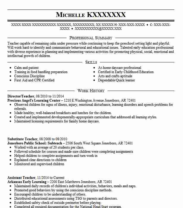 98 Continuing Education Resume Examples in Arkansas LiveCareer - head start teacher resume