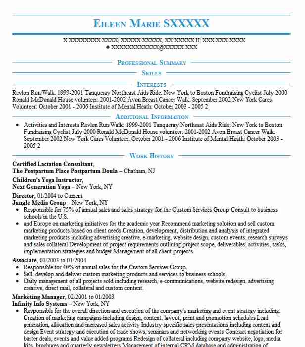 Certified Lactation Consultant Resume Sample LiveCareer