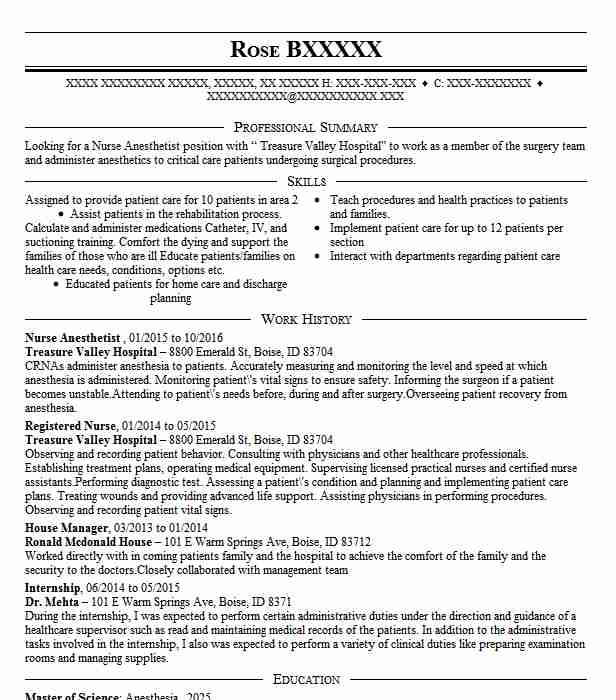 Nurse Anesthetist Resume Sample Resumes Misc LiveCareer
