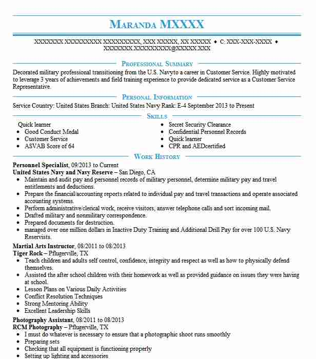 Navy Personnel Specialist Resume Image collections - resume format
