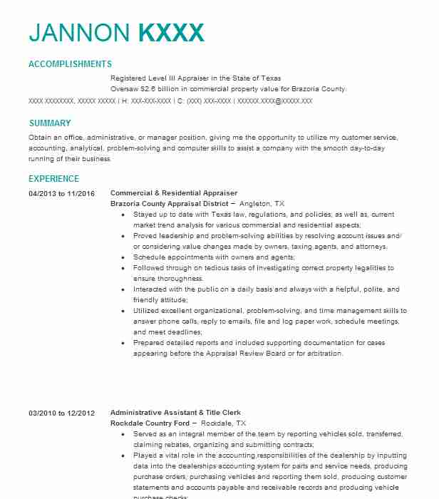 Eye-Grabbing Appraiser Resumes Samples LiveCareer - review appraiser sample resume