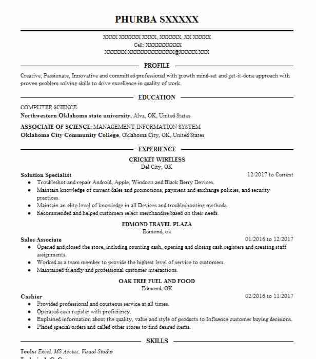 Solution Specialist Resume Example (Cricket Wireless) - Edmond, Oklahoma - cricket number customer service