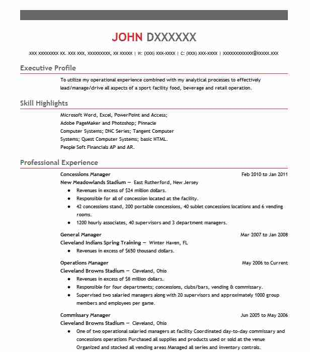 106 Concessions And Refreshments Resume Examples in Tennessee