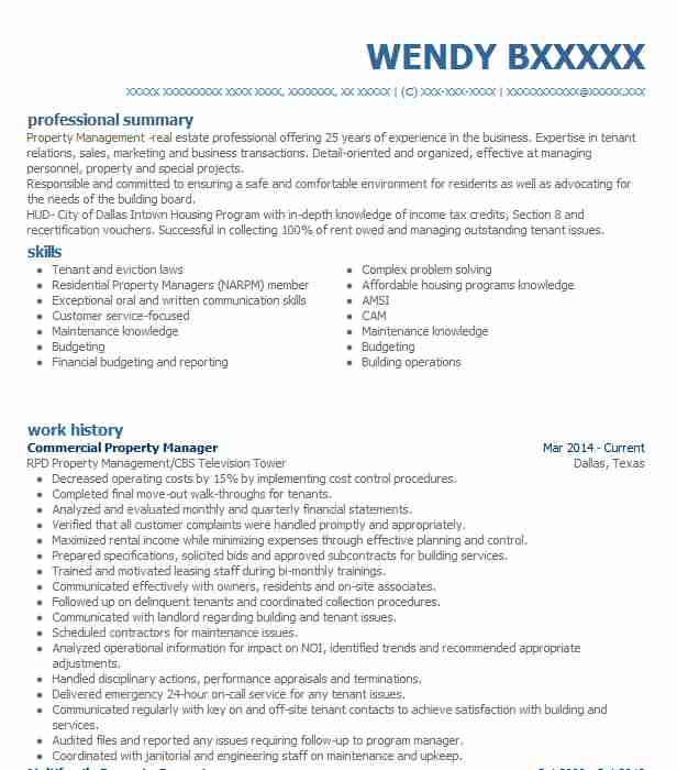 Commercial Property Manager Resume Sample LiveCareer