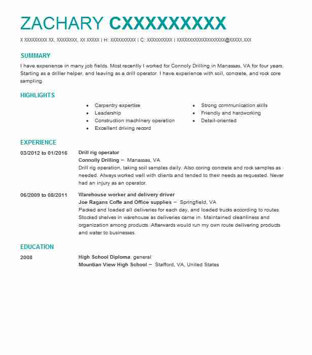 Drill Rig Operator Resume Sample Operator Resumes LiveCareer