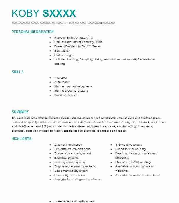 Trailer Mechanic Resume Sample Mechanic Resumes LiveCareer - trailer mechanic sample resume
