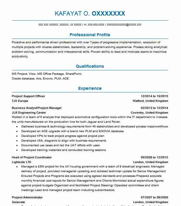 Project Support Officer Resume Sample Officer Resumes LiveCareer