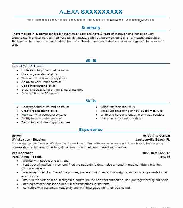 38204 Animal Care And Service Resume Examples Veterinary Resumes - animal control worker sample resume