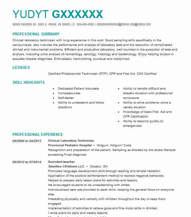 Clinical Laboratory Technician Resume Sample LiveCareer