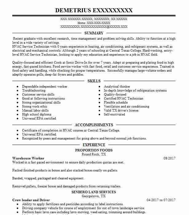 Lawn Care Technician Resume Example (Scotts Lawn Care) - Nashville