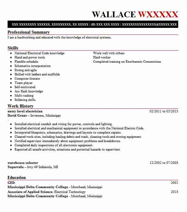 Entry Level Electrician Resume Sample LiveCareer