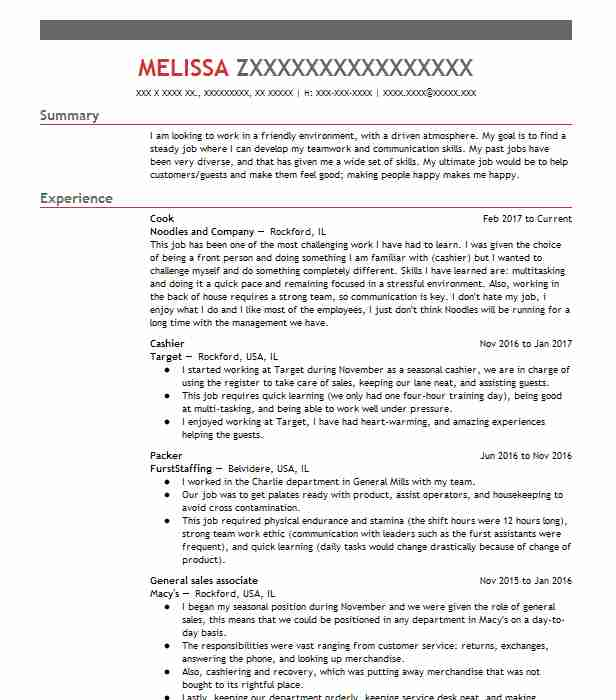 Cook Resume Sample LiveCareer - resume for cooks