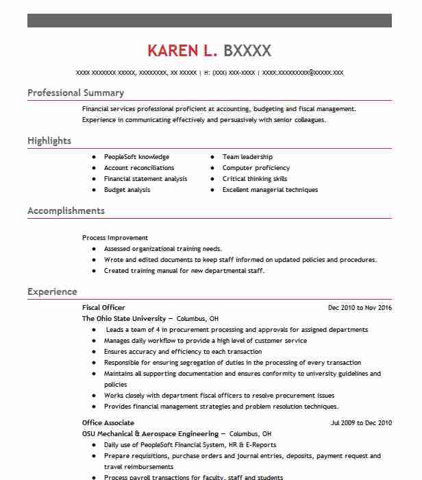 903 Financial Management Resume Examples in Ohio LiveCareer - Fiscal Officer Sample Resume