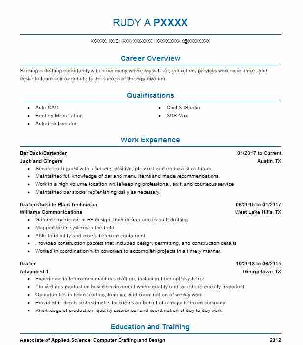 Piping Drafter Resume Sample Drafter Resumes LiveCareer - drafter sample resumes