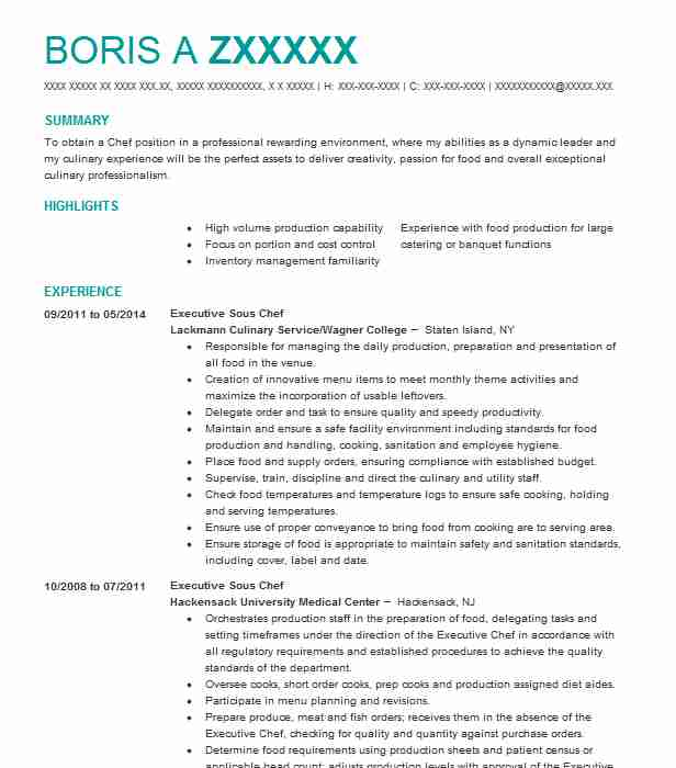 Executive Sous Chef Resume Sample Resumes Misc LiveCareer