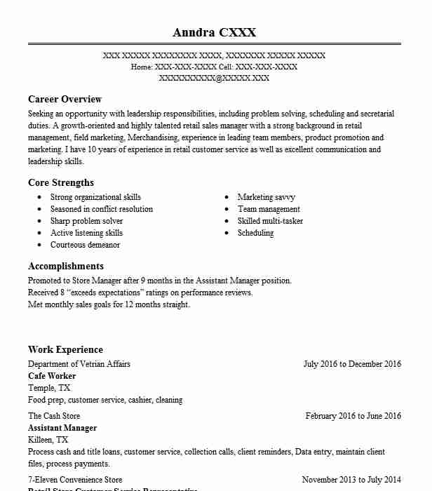 Cafe Worker Resume Sample Worker Resumes LiveCareer