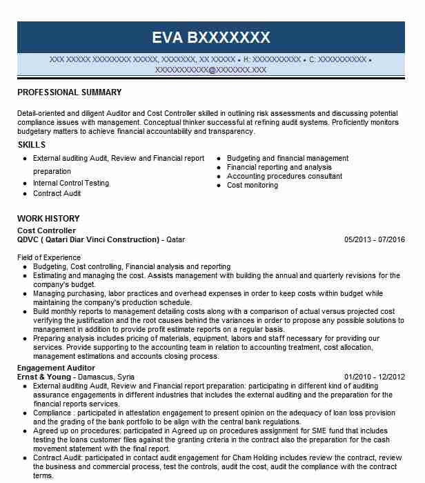 Cost Controller Resume Sample Controller Resumes LiveCareer