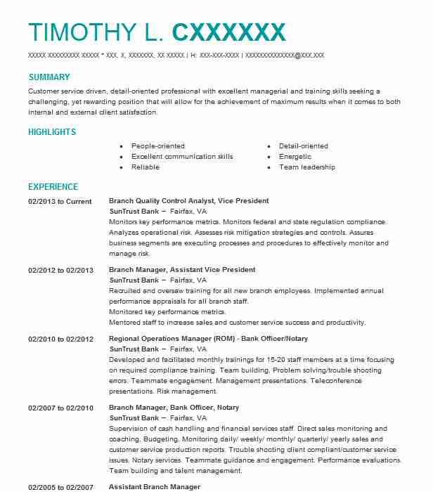 Branch Quality Control Analyst, Vice President Resume Example