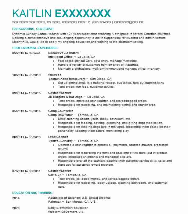 Executive Assistant Resume Example (Intelligent Office) - San Diego