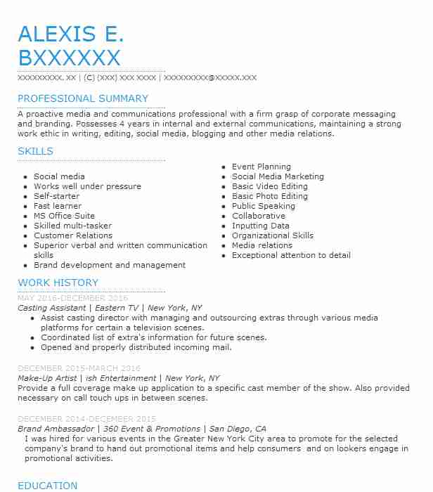 Casting Assistant Resume Sample Assistant Resumes LiveCareer