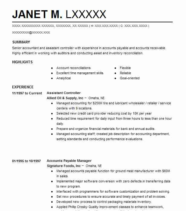 141 Financial Management (Accounting And Finance) Resume Examples in - Assistant Controller Job Description