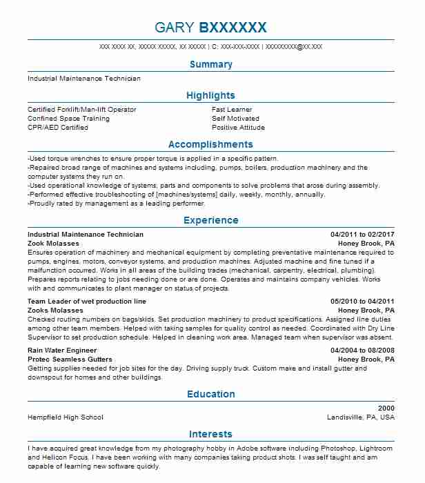 Industrial Maintenance Technician Resume Sample LiveCareer
