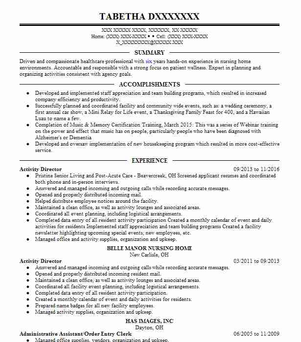 Activity Director Resume Sample Resumes Misc LiveCareer