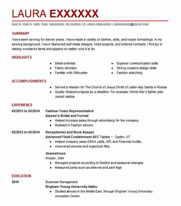 Uniform Attendant/ Seamstress Resume Example (Stratosphere Hotel And