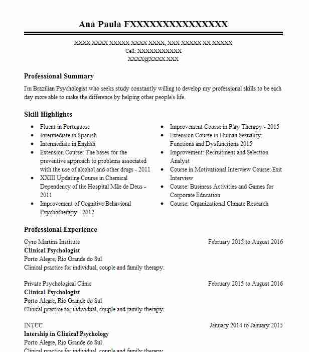 Clinical Psychologist Resume Sample LiveCareer