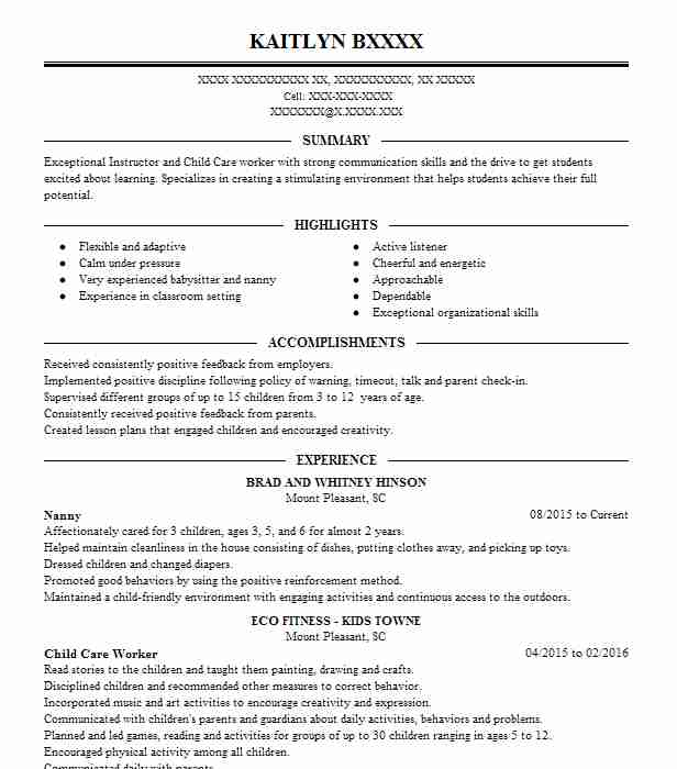 a resume example for a nannying job