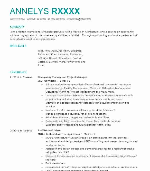 Occupancy Planner And Project Manager Resume Example (JLL Univision - field trainer sample resume