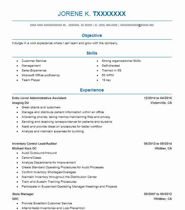 Entry Level Administrative Assistant Resume Sample LiveCareer