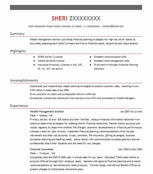 Wealth Management Advisor Resume Sample Advisor Resumes LiveCareer