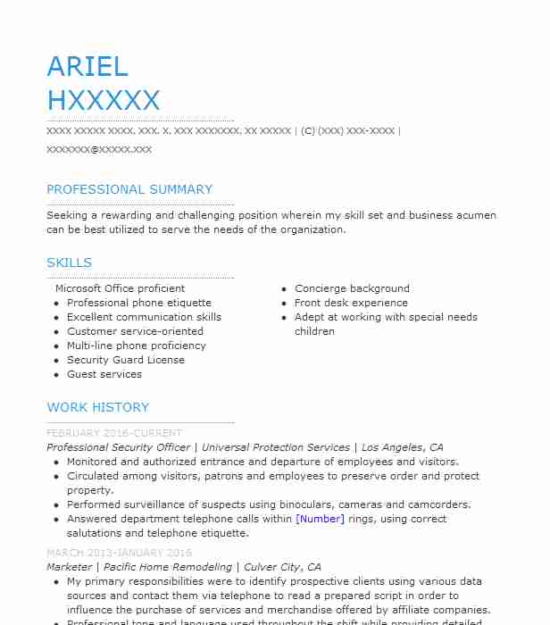 Best Professional Security Officer Resume Example LiveCareer