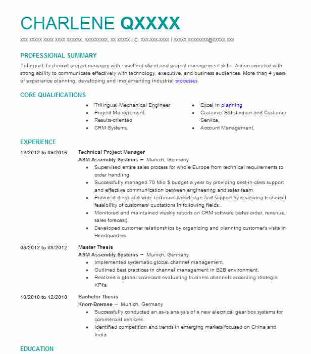 Best Technical Project Manager Resume Example LiveCareer