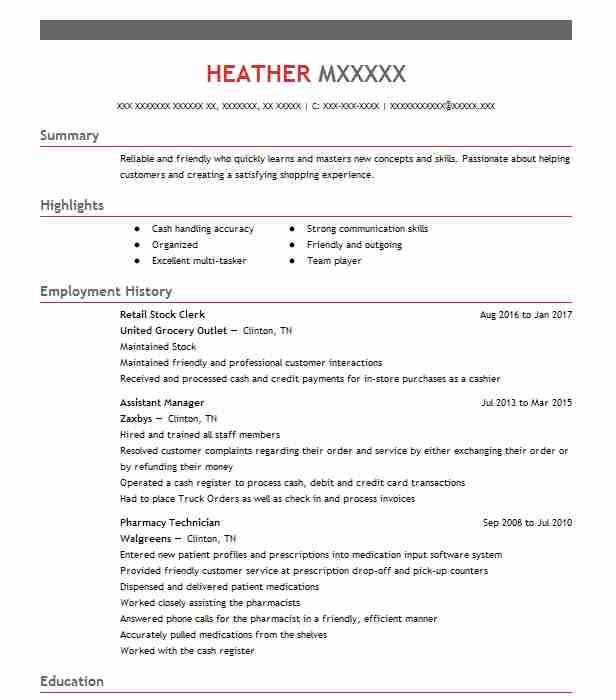 Retail Stock Clerk Resume Sample Clerk Resumes LiveCareer