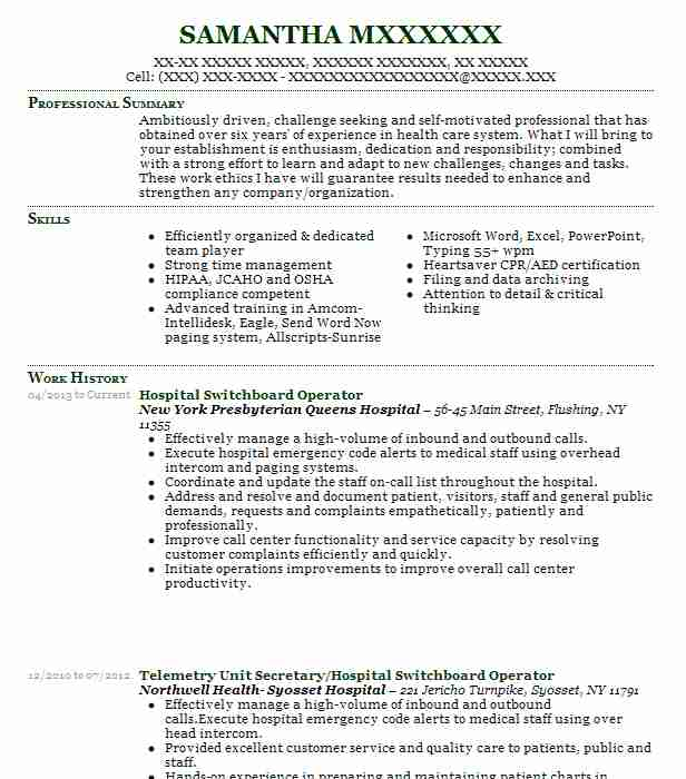 Hospital Switchboard Operator Resume Sample LiveCareer