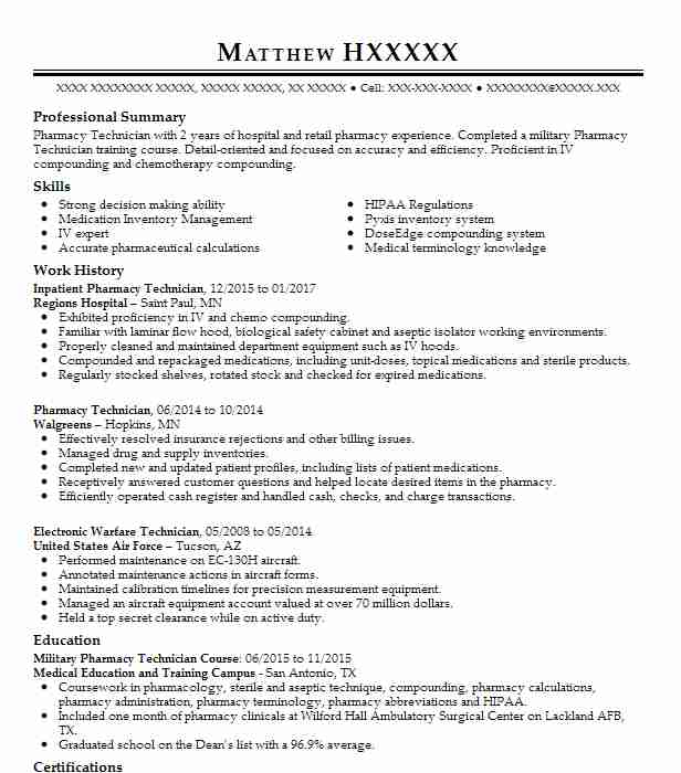 Inpatient Pharmacy Technician Resume Sample LiveCareer