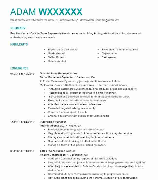 48233 Outside Sales Resume Examples Sales Resumes LiveCareer - outside sales resume