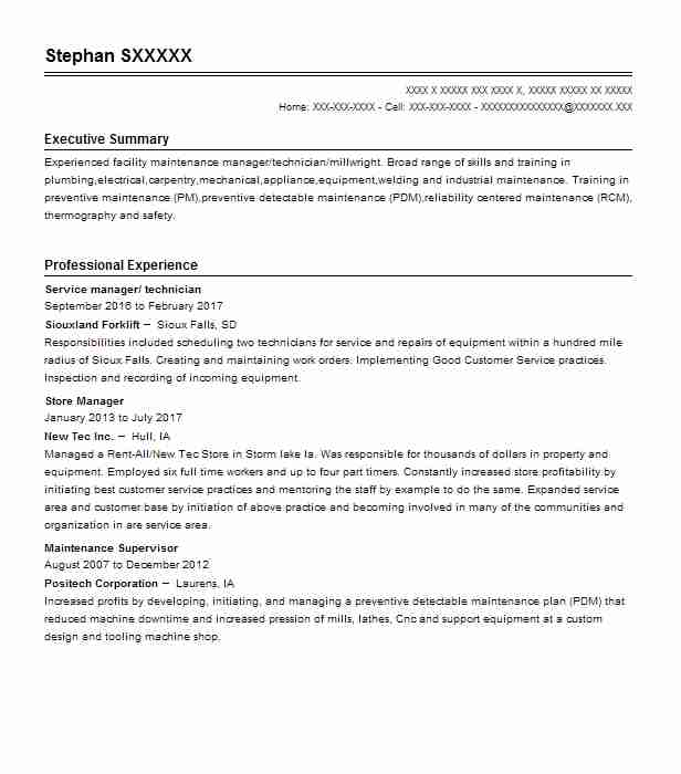 36 Maintenance Managers Resume Examples in South Dakota LiveCareer - maintenance manager resume sample