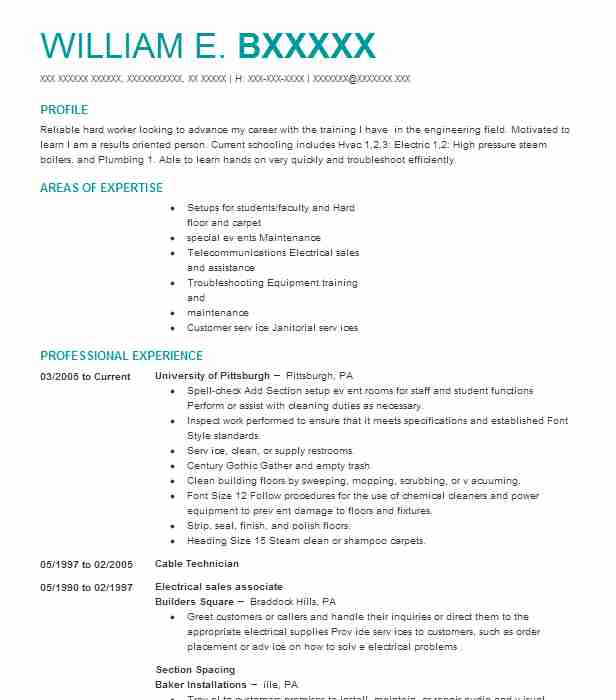 Cable Technician Resume Sample LiveCareer