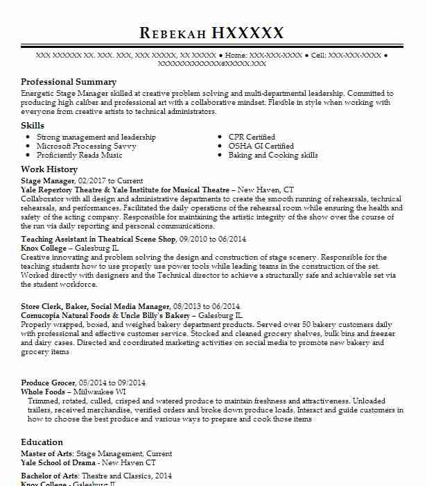 15 Stage Management Resume Examples in Connecticut LiveCareer - stage management resume