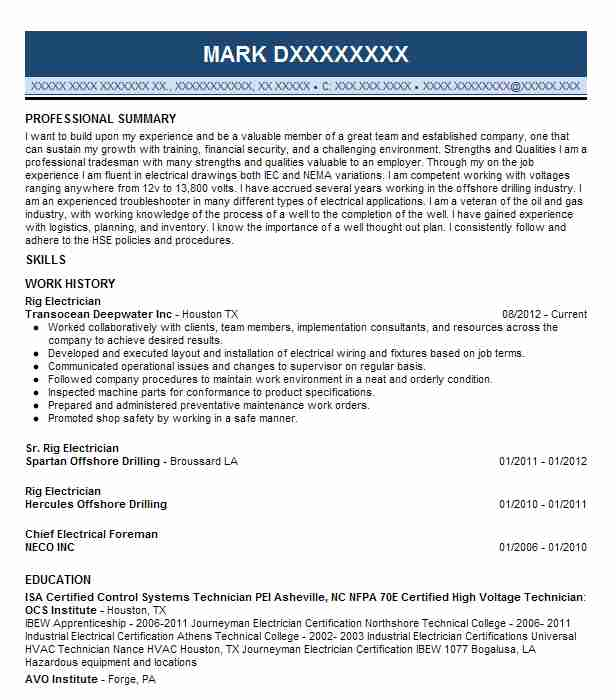 Rig Electrician Resume Sample Electrician Resumes LiveCareer - rig electrician resume